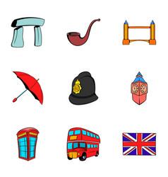 britain icons set cartoon style vector image