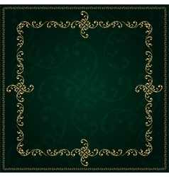 Gold frame with vintage floral elements vector image vector image