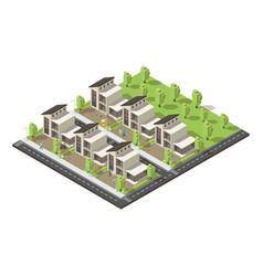 isometric complex suburban buildings concept vector image