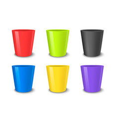 realistic empty flower pot set bright vector image vector image