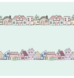 Seamless of cute doodle house vector image vector image