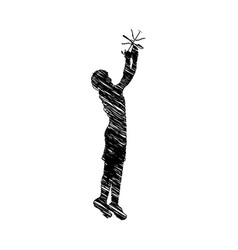 silhouette drawing man playing basketball vector image