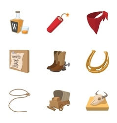 Cowboys of wild west icons set cartoon style vector