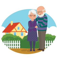 Elderly couple at their home vector image