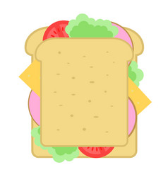 Homemade sandwich isolated icon vector