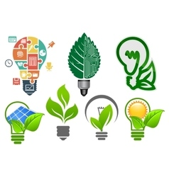 Light bulbs ecology icons and symbols vector image vector image