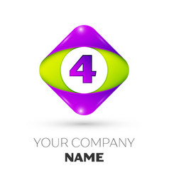Number four symbol in the colorful rhombus vector