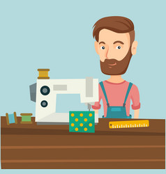 seamstress using sewing machine at workshop vector image