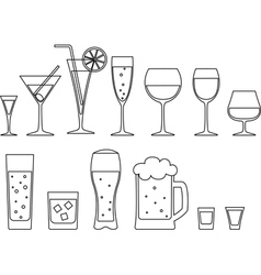 Set of full goblets vector image vector image