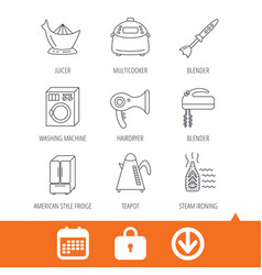 Washing machine teapot and blender icons vector