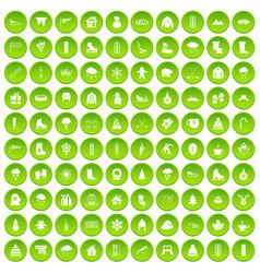 100 wine icons set green circle vector