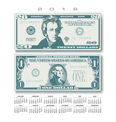 2018 calendar with two us bills greatly simplified vector image