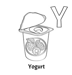 alphabet letter y coloring page yogurt vector image