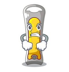 Angry stainless steel nail cutter on cartoon vector