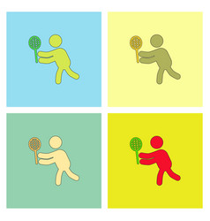 Badminton player in action logo collection vector