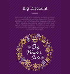 Big discount winter sale posterplace for text vector