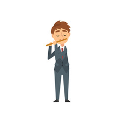 Boy playing flute talented young flutist vector
