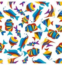 Bright colorful exotic fishes seamless pattern vector