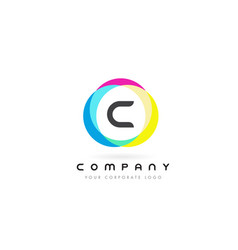 c letter logo design with rainbow rounded colors vector image