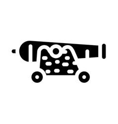 Cannon pirate glyph icon vector