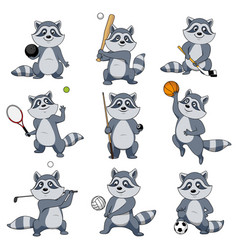 Cartoon raccoon play sports mascot icons vector