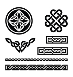 Celtic knots braids and patterns vector