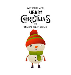 cheerful cute snowman on white background vector image