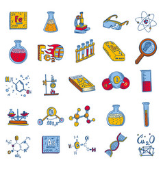 chemistry lab icon set hand drawn style vector image