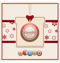 Christmas bingo tag on red and cream background vector image
