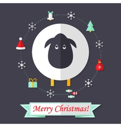 Christmas Card with Sheep over Dark Blue vector image