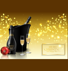 christmas party with champagne bottle and wine vector image