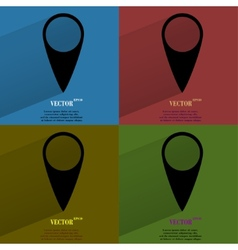 Color set map pointers Flat modern web button with vector image