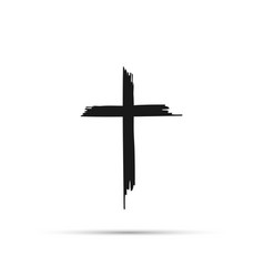 cross silhouette with blood and shadow vector image