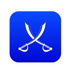 Crossed sabers icon digital blue vector