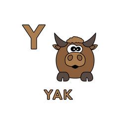 Cute cartoon animals alphabet yak vector