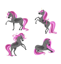 cute dark tattooed unicorns set isolated on white vector image