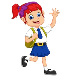 Cute girl in uniform waving hand vector