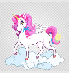 cute white unicorn on clouds isolated on vector image