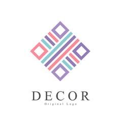 decor original logo creative sign for company vector image