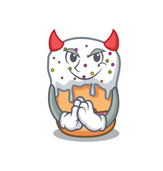 Devil easter cake mascot cartoon vector