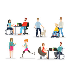 Disabled people flat characters set full-fledged vector