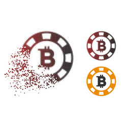 Dissolved pixelated halftone bitcoin casino chip vector