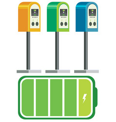Electric car charger battery vector