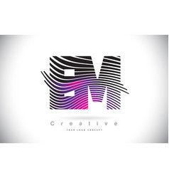 Em e m zebra texture letter logo design with vector