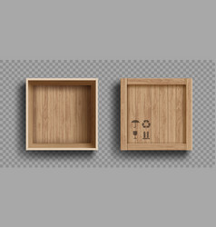 empty open and closed wooden box vector image