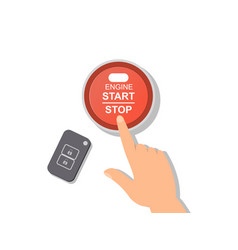 engine or machinery stop start control button vector image