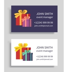 Event manager business card with gift boxes vector