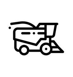 farming harvester vehicle thin line icon vector image
