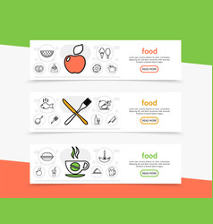 food and cooking horizontal banners vector image