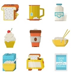 Food flat colored icons collection vector image